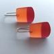 Earrings orange/red polyester resin