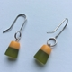 Earrings moss/orange polyester resin