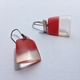 square drop earrings red/clear
