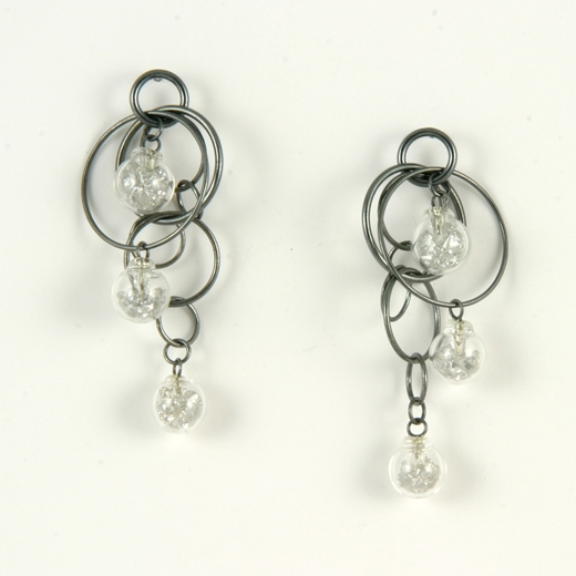 White CZ stuffed triple bubble earrings oxidised 2