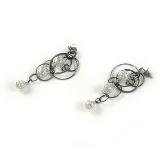 White CZ stuffed triple bubble earrings oxidised 3