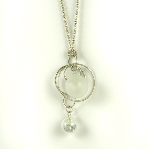 Frost CZ Double Bubble Pendant on Chain polished 4