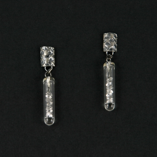 Small White CZ Drop Etched Earrings Oxidised