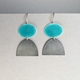 Deep Turquoise enamel oval hook earring + oxidised half oval