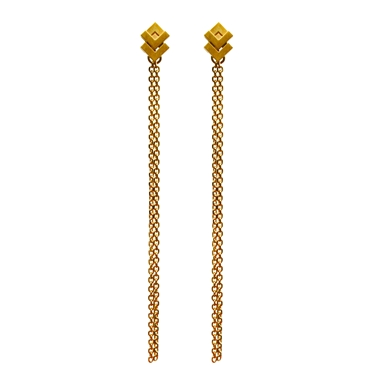 Rhythm Stud Chain Earrings 18ct Vermeil