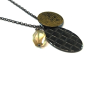 Woven oxidised&Gold leaf cluster pendant