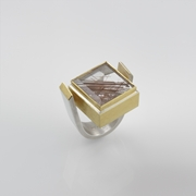 Sterling Silver and 24ct Gold Ring with Rutilated Quartz