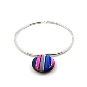 Reversible stripe choker blue/pink