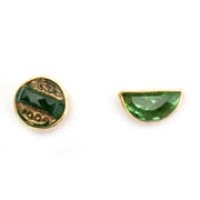 Green mismatched gold plated studs