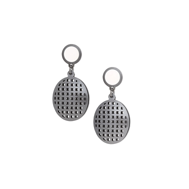 white waffle earrings