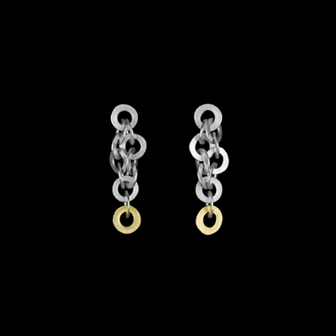 Ra earrings silver with 18ct gold