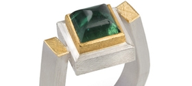 Josef Koppman - 24ct gold and silver ring with green tourmaline