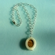 oval jasper and polypropylene pendant