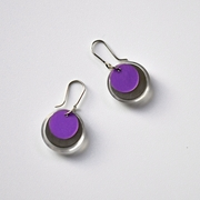 purple polypropylene and clear acrylic earrings