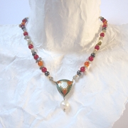 Necklace Kaleidoscope Drop  Grey and Amber