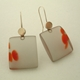earrings trans grey and red blobs