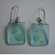 earrings aqua green dots