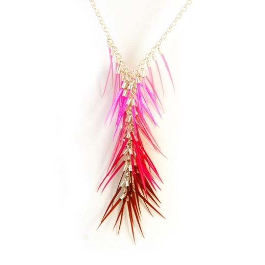 Mixed Pinks Chandelier Necklace - detail