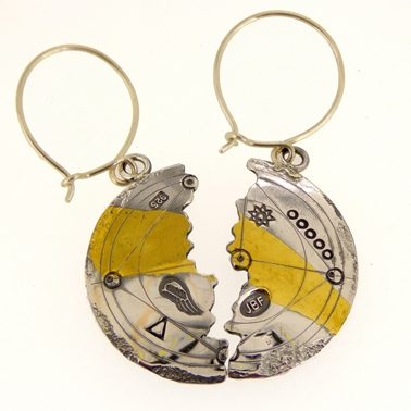 Keum boo large scribed halved earrings