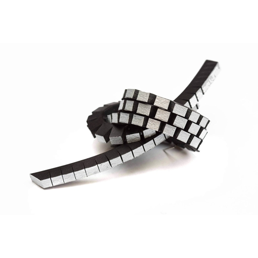 Knotted Up Brooch - Black & Silver