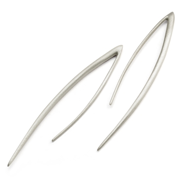 Short silver drop strand earrings 55mm