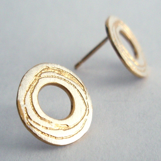 Spiral etched washer earrings
