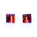 Red mini square studs