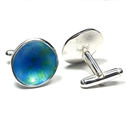 Large bud blue cufflink