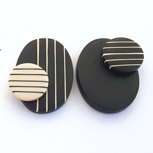 Black and nude stripy double studs