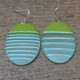 Large ovals - green with turquoise stripes