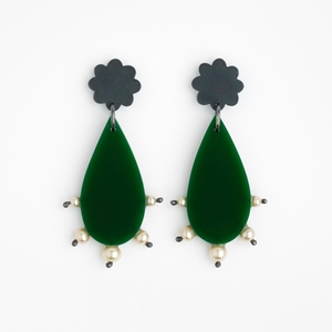 Large Raindrop Earrings - Green