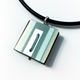 Grey blue square pendant