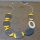 Yellow ovals necklace with nude hoop