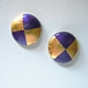 Small round earrings Purple/ Gold