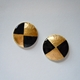 Small round earrings/ Black gold foil
