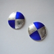 Small round earrings/ Blue silver foil