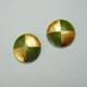 Small round earrings/ Olive green/ gold foil