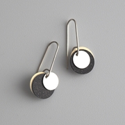 Silver disc earrings , main image