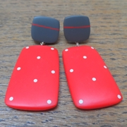 Red rectangle earrings