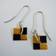 Small square drop earrings Black/ gold foil