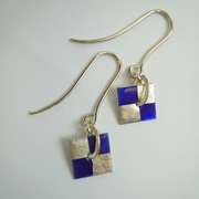 Small square drop earrings Blue / Silver