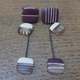 Mis-match maroon + nude dangle squares