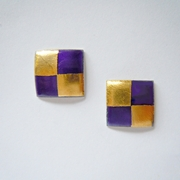 Small square earrings Purple/ Gold
