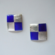 Small square earrings Blue / Gold