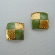 Small square earrings Olive green / Gold