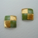 Small square earrings Olive green/ gold foil