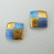 Small square earrings Violet blue / Gold
