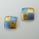 Small square earrings Violet blue / gold foil