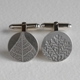 Domed back fern and leaf cufflinks