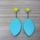 turquoise and mustard drop leaf earrings